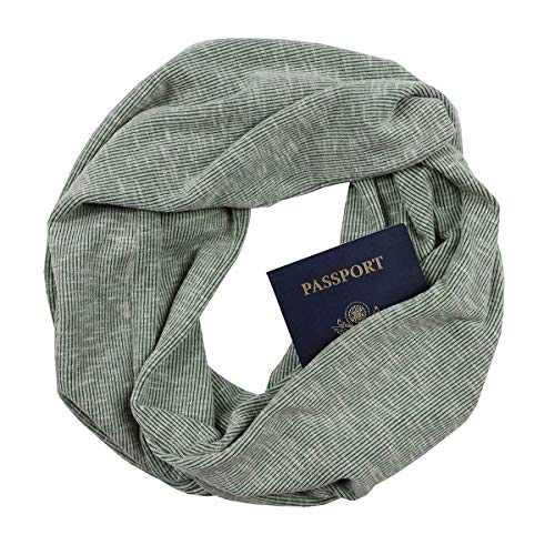 Olive Rib Knit Infinity Scarf with Zippered Secret ()