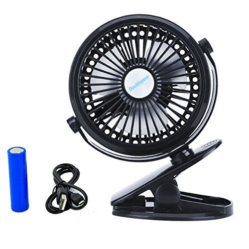 Clip Fan, Mini Desk Fan, Battery Operated Small Personal Fan Strong Wind USB Powered ,360° Rotating Rechargeable Low Noise(black)