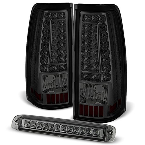 For Chevy Silverado Sierra LED Smoked Tail Lights Replacement + Smoke LED 3rd Brake Cargo Light Lamp