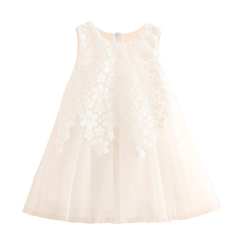 Mud Kingdom Tulle Little Girls Sleeveless Dress for Summer White 3T, Tag 100, 3T(36-38 ins./29-32 lbs.)