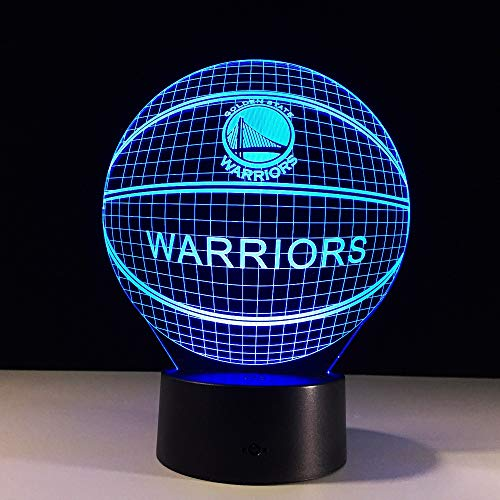 kkkmb 3D NBA Jinchuan Warriors Logo Lamp 7 Colors Change Night Light Illusion Acrylic Touch Remote Lamp Sleep Lamp Party Decor Gifts