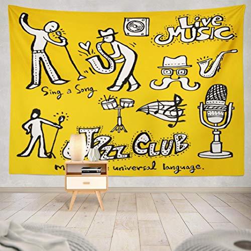(Deronge Jazz Music Tapestry Wall Art Decor, Tapestry Wall Hanging Decor Music Poster Live Jazz Festival Tag Ticket Band 60