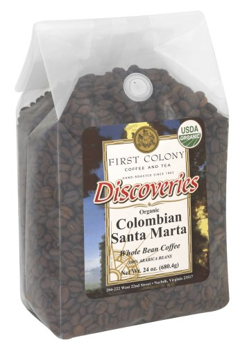 First Colony Discoveries Colombian Santa Marta Light Roast Whole Bean Coffee, 1.5-Pound Bags (Pack of 3)