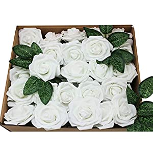 En Ge 50-Heads Artificial Flowers White Roses Real Looking Fake Roses Flowers with Stem for DIY Wedding Bouquets Centerpieces Arrangements Party Home Yard Chritsmas Decorations 80