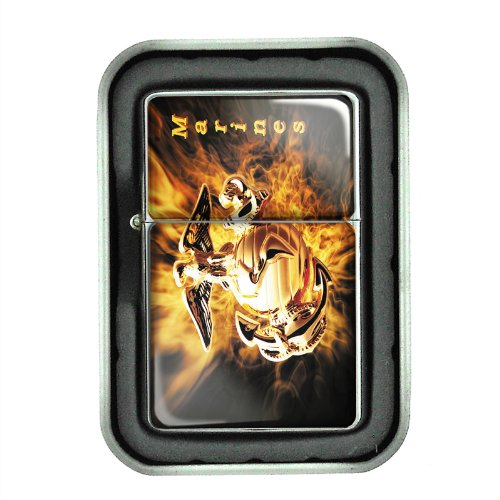 Windproof Refillable Oil Lighter with Tin Gift Box Marines Design-005 by Perfection In Style