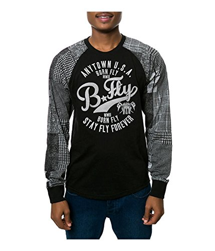 Born Fly Mens The Casablanca Raglan Embellished T-Shirt Black M (Born Fly Clothing)