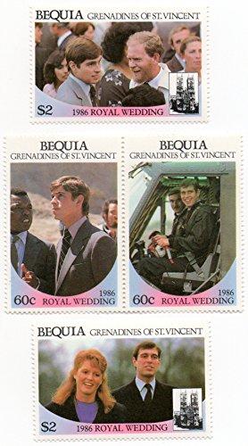 Bequia Grenadines Of Saint Vincent 1986 Postage Stamp Set Royal Wedding Issue Prince Andrew & Sarah Ferguson MNH Scott #232-235