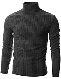 Mens Slim Fit Wide Ribbed Cotton Blend Turtleneck Pullover