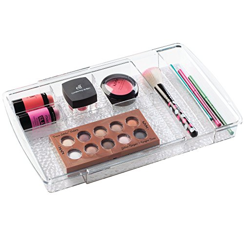 InterDesign Rain Expandable Cosmetic Drawer Organizer for Vanity Cabinet to Hold Makeup, Beauty Products - Clear