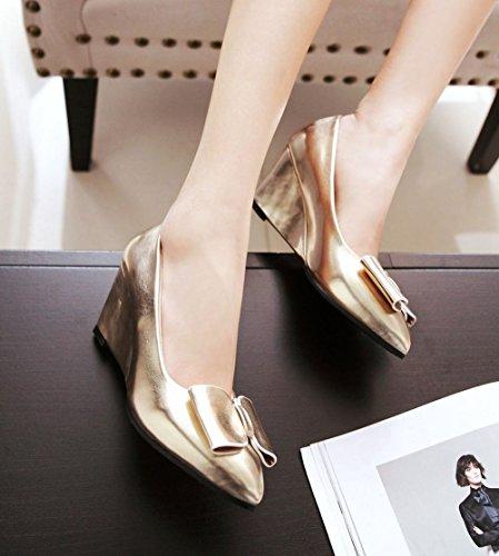 Latasa Mujeres Pointed Toe Wedges Bombas Zapatos Oro
