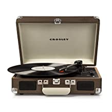 Crosley CR8005D-TW Cruiser Deluxe Portable Record Table 3-Speed Turntable with Bluetooth, Tweed