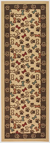 Pet Collection Bones and Paws Mat Doormat Beige Multi Color Slip Skid Resistant Rubber Backing (Beige, 20