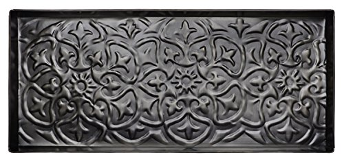 "HF by LT Fleur-De-Lis Pattern Metal Boot Tray, 30"" x 13"", Antique Zinc Finish"