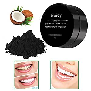 Naicy Organic Activated Charcoal Natural Teeth Whitening Powder Black Carbon From Coconut Shells and Food Grade Formula - All Natural Spearmint Flavor Tooth