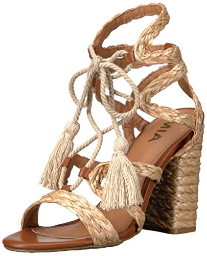 MIA Women's Gigi Dress Sandal, Natural Raffia, 6 M US (Womens Raffia)