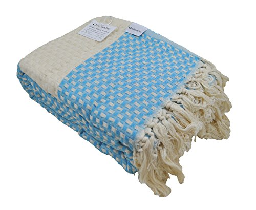 Turkish Throw Blanket Made from 100% Turkish Cotton, Large Lightweight Handwoven Sofa Throw, Partial Bed Cover or Loveseat Blanket (Aqua Blue) (Throws Large Sofa)