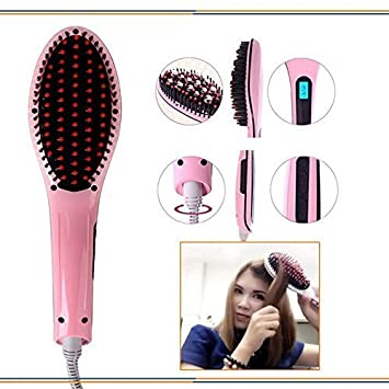 Granth Enterprise 2 In 1 Ceramic Hair Straightener Fast Styling Brush with Temperature  Multicolour