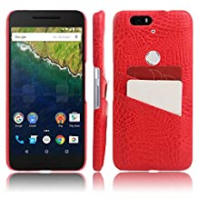 Nexus 6P Case, HL Brothers Card Slot Vintage Cases Series, Premium Crocodile Pattern PU Leather Wallet Case Back Cover for Huawei Google Nexus 6P 2015 Smartphone (Red)