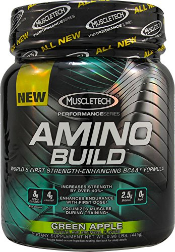 Amino Build by MuscleTech - Superior Strength Enhancing BCAA Post-Workout Supplement (Green Apple, 50 Servings)