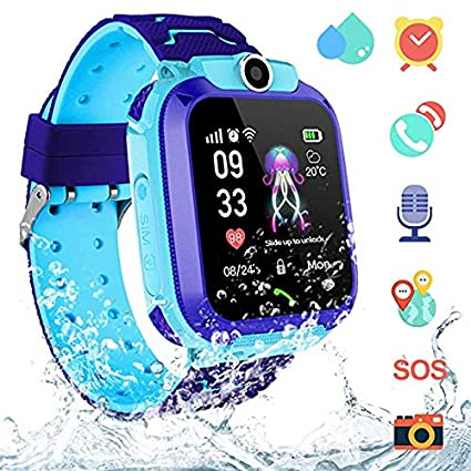 AGPS Waterproof Kids Smart Watch for Students, Girls Boys Touch Screen Smartwatch with AGPS/LBS Tracker Voice Chat One-Key SOS Help Anti-Lost Calling ...