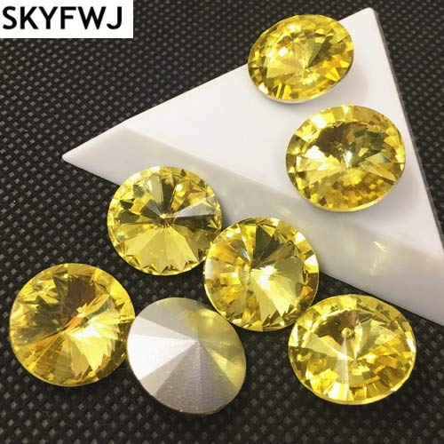 Pukido Rich Colors Rivoli Crystal Rhinestones 6,8,10,12,14,16,18mm Round Glass Crystal Fancy Stone - (Color: jonquil Yellow, Size: 14mm 35pcs)