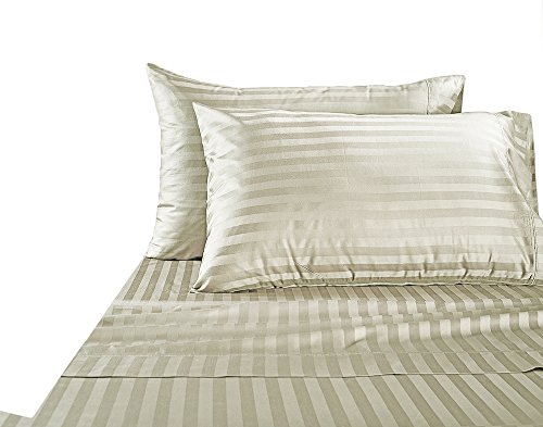 Hotel Collection Luxury Egyptian Cotton Bed Sheet 1000 Thread count 100% Ultra Soft 4 Piece Stripe Sheet Set, Queen - Ivory