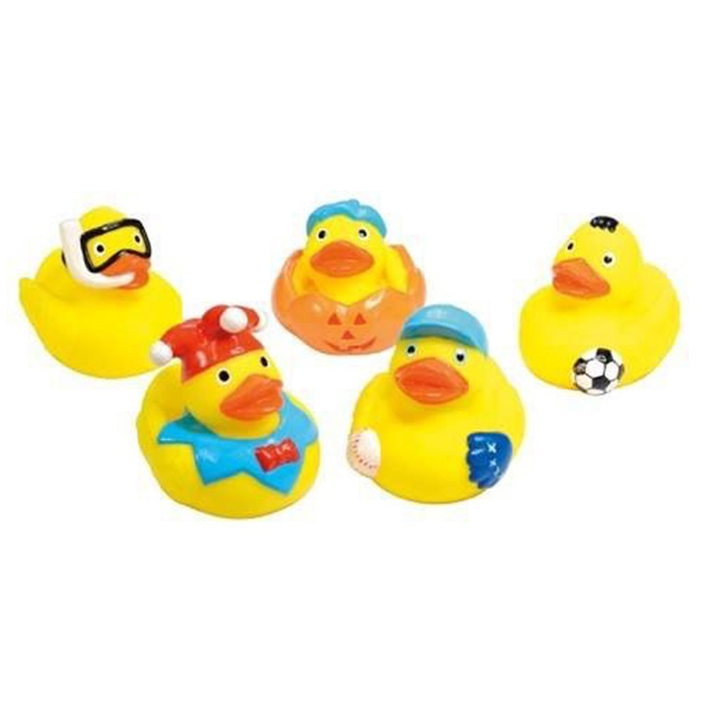 Kids Soft Plastic Bath Squeaky Character Duck Pool Fun Toys Set Of 6