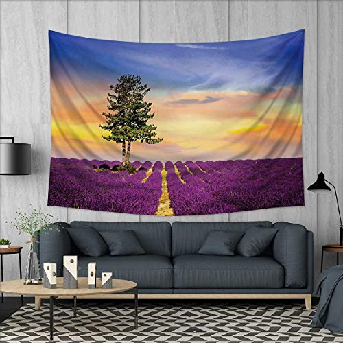 Anhuthree Lavender Customed Widened Tapestry Purple Fields with Sunset Sky and Large Green Tree French Village Country Design Wall Hanging Tapestry 90