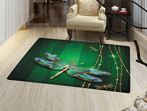 (Dragonfly Door Mat Small Rug Vivid Figures in Gemstone Crystal Diamond Shapes Graphic Artsy Effects Bath Mat 3D Digital Printing Mat Gold Hunter Green)