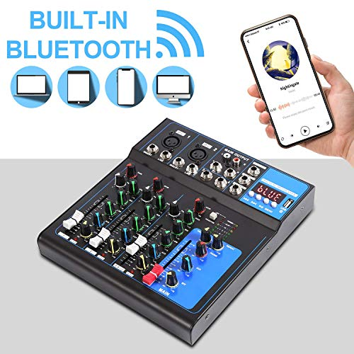 Viiart 4-Channel Audio Mixer Sound Board Built-in Digital Effect Audio Mixer USB Bluetooth MP3 Computer Input Stereo DJ Studio Streaming 48V Phantom Power for Live Stream Recording (4-Channel)