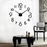 FZZ698 Wall Clock, Living Room DIY, 3D Mirror Surface Sticker Bedroom Home Office 3D Home Decoration Mirror Large Art Design (black)