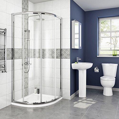 iBathUK 800 x 800 mm Modern Quadrant Sliding Door Shower Enclosure with Tray + Free (Quadrant Shower Trays)