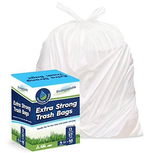 Freedom Living Biodegradable Heavy Duty White Trash Bags with Handle Ties for Kitchen, Yard, Lawn, Contractor, Janitorial or Office (13 Gallon)