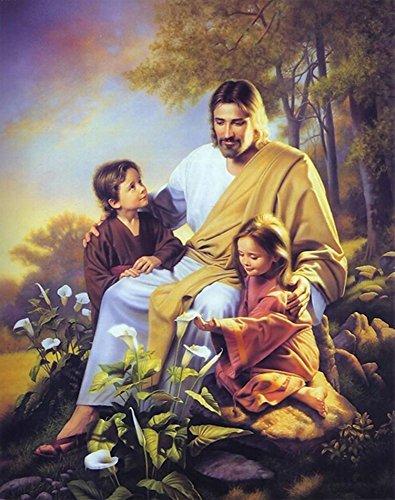 Jesus Religion Diamond Painting Art - PigBoss 5D Diamond Embroidery Cross Stitch Kits - Jesus Diamond Painting Christmas Gift for Adults (11.8 x 15.7 inches)