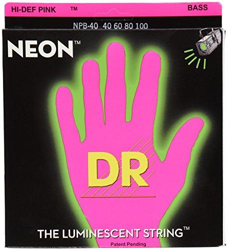 DR Strings NPB-40 Nickel Coated Bass Guitar Strings, (Pink Bass Strings)