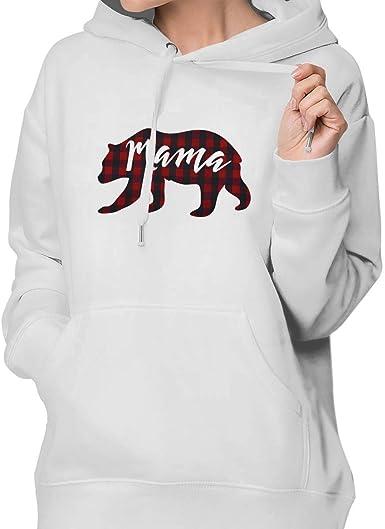 BEDKKJY Sudadera con Capucha a Cuadros Mama Bear Plaid para Mujer Jersey Deportivo 100% algodón: Amazon.es: Ropa y accesorios