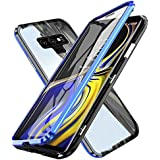 Oihxsetx Compatible for Galaxy Note 9 Magnetic Adsorption Double Side Tempered Glass Case,Ultra-Thin Magnetic Metal Frame Full Body Protection Cover Support Wireless Charging -Black Blue
