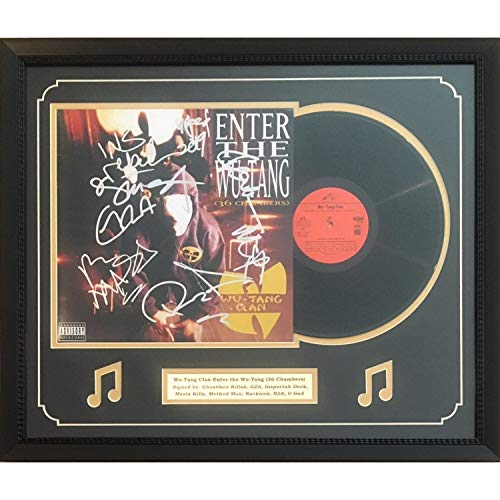 (Wu Tang Clan Autographed Enter The Wu-Tang 36 Chambers Signed Rap Music Vinyl Album Framed 8 Signatures JSA)