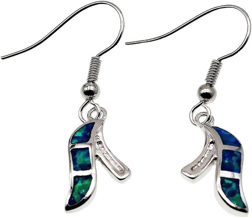 Femmes Or Blanc Plaqué créé Bleu Imitation Opale CZ Dangle Crochet Boucles D/'oreilles