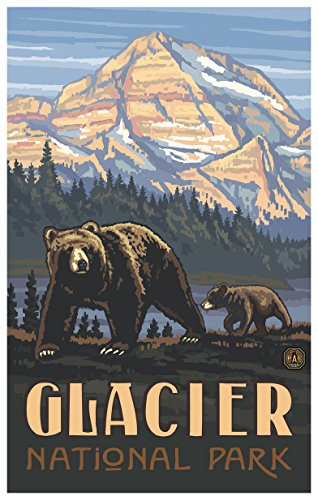 Glacier National Park Rockies Grizzly Bears Travel Art Print Poster by Paul A. Lanquist (12