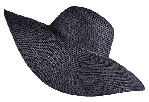 ladies summer straw hats uv protection cap large brim sun hat for women Black