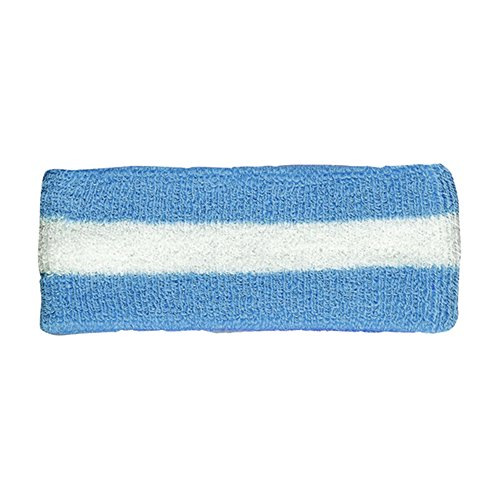 Cotton Terry Cloth Stretchy Stripe Sports Headband - BLUE ()