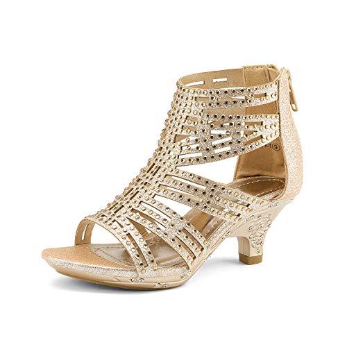 DREAM PAIRS Toddler Sweety-1 Gold Low Heel Dress Pump Sandals - 9 M US Toddler