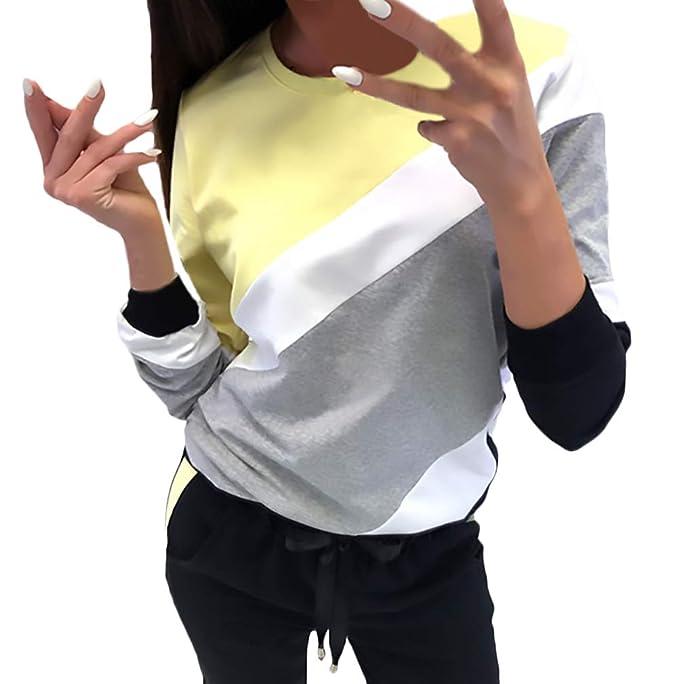 Sudadera Mujer Manga Larga Cuello Redondo Colores Splice Shirt Moda Tops Otoño Primavera Elegantes Casuales Mujeres Basicas Camiseta Camisas Señoras: ...