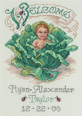 - Janlynn Counted Cross Stitch Kit (5 X 7 Inches) 14 Count - Cabbage Patch Baby Birth Announcement