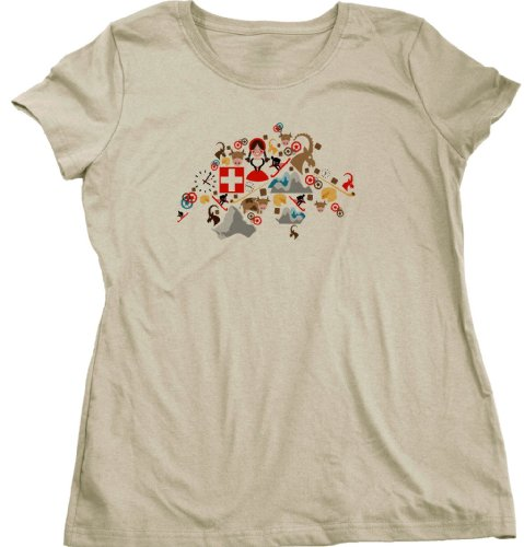 SWITZERLAND MAP Ladies Cut T-shirt Stylized Map of Schweiss, Suisse, Svizzera