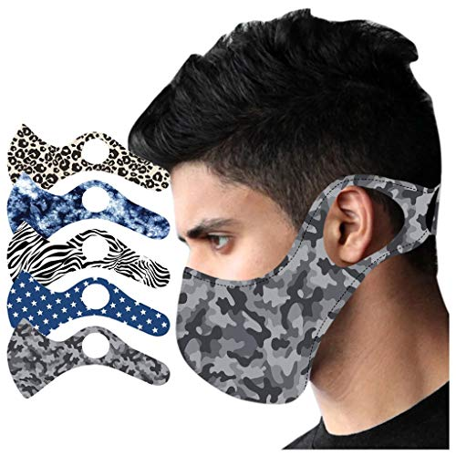 WFeieig 5PC Washable Face Bandanas Sports Outdoor Face Protection Men, Women for Running Cycling Reusable