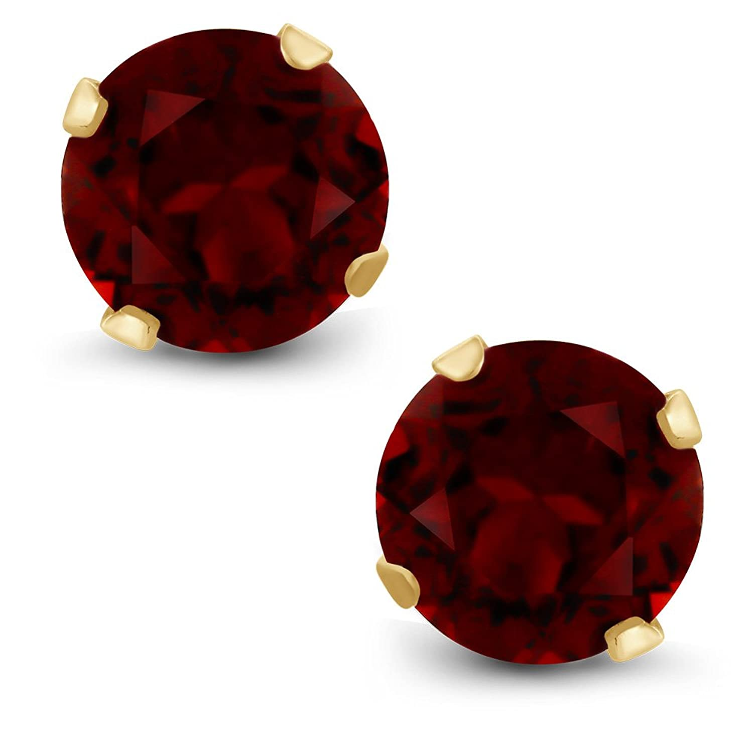Amazon: 130 Ct Round Cut Red Natural Garnet 14k Yellow Gold Women's  Stud Earrings: Jewelry