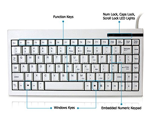 Adesso Ack-595Uw - Keyboard - Qwerty - 88/89 Keys - Cable - Usb - White ''Product Category: Digital Cameras/Keyboards/Input Devices/Keyboards''