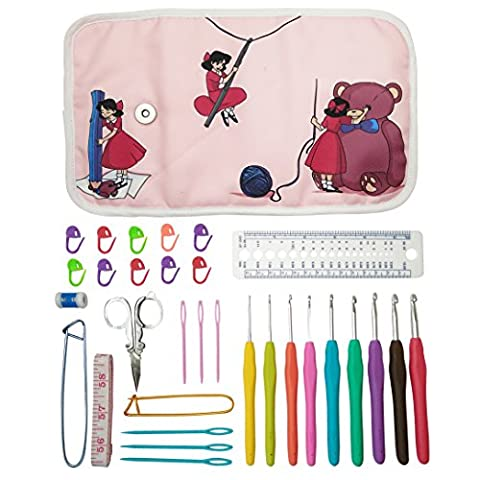 Essential Crochet Set - 9 Ergonomic comfort grip crochet hooks, accessories and roll-up organizer bag case with cute design - MozArt Supplies - Bambino Appena Nato Cuscino